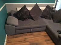 Corner sofa with storage double bed pull out