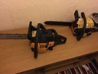 2 mcculloch 335 chainsaws