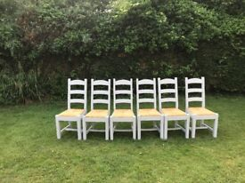 Set of 6 solid oak painted ladder back dining chairs