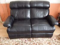 RECLINER SOFA - 2 Seat Faux Leather Black Sofa - Collection Only - Last Day Friday 24th Feb