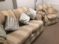FREE!!! 2 seat sofa and single chair for sale with cushions.
