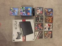 PS3 320gb slim + 2 controllers, 9 games, ps move