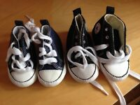 2 pairs of baby Converse Trainers for sale