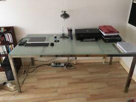 Medium sized IKEA steel frame desk with heavy glass top