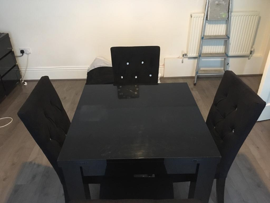 Next Black High Gloss Dining Table And Chairs In