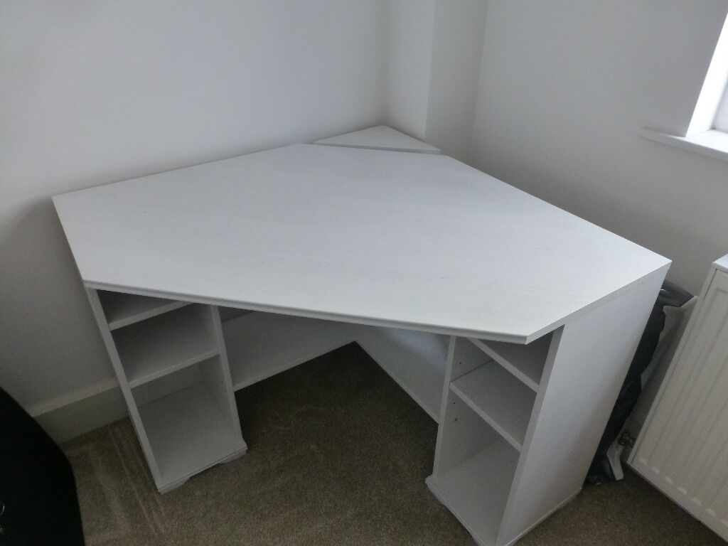 Corner Desk White Ikea Borgsjo Model In As New Condition 30
