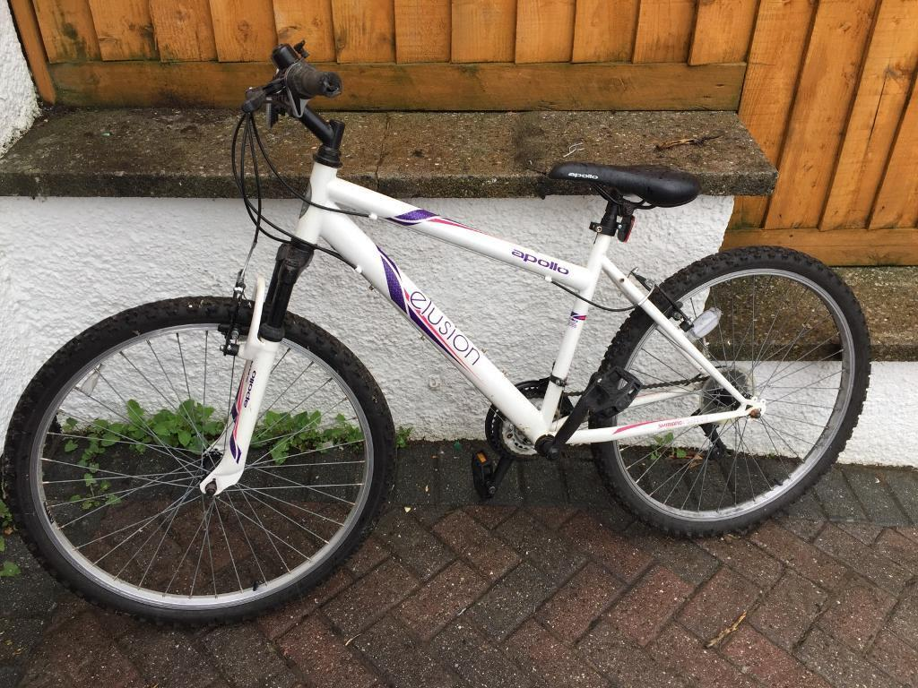 Girls 18 speed APOLLO ELUSION Mountain Bikein Plymouth, DevonGumtree - Girls 18 speed APOLLO ELUSION Mountain BikeGood condition, not been used for 12months and we are having a clear outOffers around £40 considered