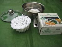 Stainless Steel Pot with Glass Lid and Steamer Set for £8.00