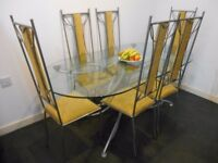 Oval Glass Dining Table and 6 Chairs - £200 ONO