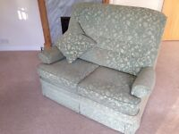 Used Laura Ashley Two Seater Green Fabric Covered Sofa