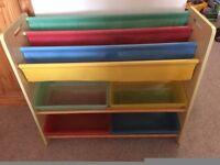 Children's Bookshelf with matching coloured storage trays