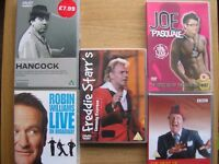 Five comedy DVDs.