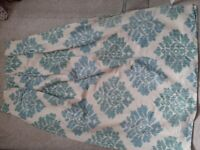 One pair turquoise & white linen curtains