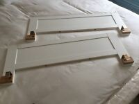 2 white wooden bed rails/guards
