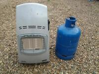 Indoor gas heater & empty Calor gas bottle