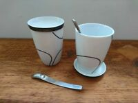 Danish design - Pair of 'Menu' Thermo cups, 'Black Contour' pattern, with saucers/lids & spoons