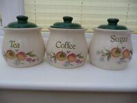 TEA, COFFEE, SUGAR JAR/ CANISTER SET - by PEACHES