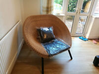 Garden chair seat large with cushions, rattan natural oval nearly new
