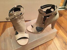 Size 2 beige peep toe shoe boot