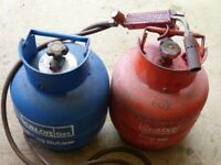 4.5 kg Propane and Butane cylinders with blow torch fitting and regulator.