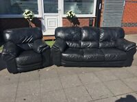 BLACK LEATHER SOFA SET 3+1 seater Used IN Good CONDITION