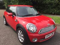 MINI ONE 1.4 07 REG IN RED WITH GREY TRIM,ALLOYS AND AIR CON, ONLY 71400 MILES AND SERVICE HISTORY