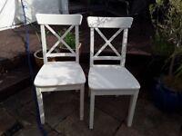2 white Ikea dining chairs, Ingolf range.