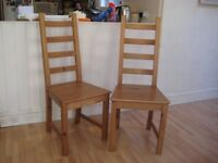 Nice Pair of Solid Pine Kitchen / Dining Chairs - Very good condition