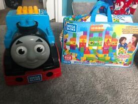 Thomas the tank mega blocks and 150 extra bricks