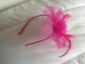 Pink fascinator and pink clutch bag. Never used