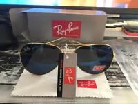 Ray bans gold with blue lenses