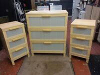 Ikea Chest of drawers and two Bedside Drawer units.