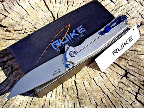 RUIKE knives P801 Stonewashed Stainless framelock folding knife 14C28N blade EDC