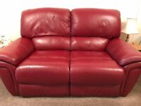 Red Leather Two Seater Reclining Sofa
