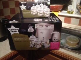 Tommee tippee starter set, brand new pnever opened.see picture for contents plus 3 extra bottles.