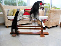 TRADITIONAL WOODEN ROCKING HORSE BY COLLINSONS 39INCHES TALL