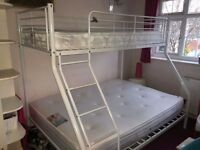 Double and Single Bunk Bed Frame, Metal, White, including Mattress