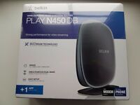 Belkin Wireless N450 Modem ADSL Router (BT Line) - Black - BRAND NEW sealed in box