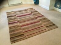 Handmade designer wool rug and matching chenille throw and cushions