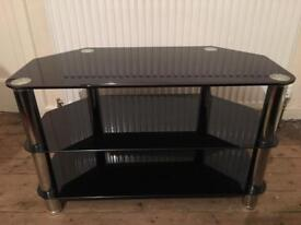 Black glass tv stand also can be used for a coffee table