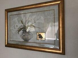 Framed flower print wall art