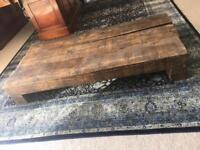 Dark wood railway sleeper table