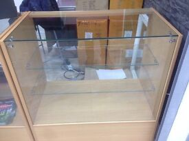 2 x shop cabinet wooden glass display retail haberdashery counter unit