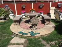 Concrete garden table and chairs