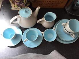 Poole pottery twintone , sky blue and dove grey
