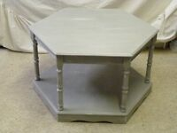 """Grey TV stand or Coffee Table - """"Shabby-chic"""" Octagonal shape"""