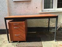 Home office desk set - desk, pedi stool, bookcase & filing cabinets