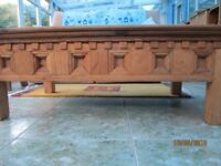 Coffee Table Wooden with modern engraved surround