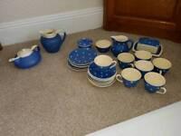 Collection of polka dot glazed Devon pottery