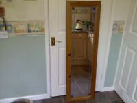 Large waxed pine mirror with a leaded light border